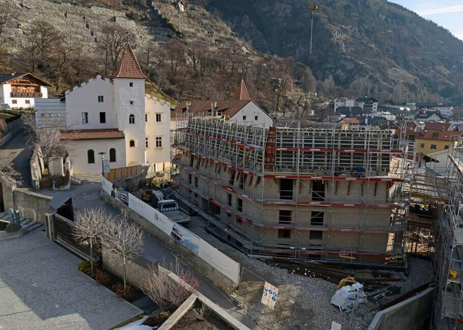 Baufortschritt Wohnanlage Schlossgarten Schlanders Immobilien Vinschgau