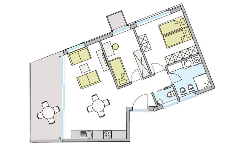 Grundriss 3-Zimmerwohnung mit Terrasse Naturns