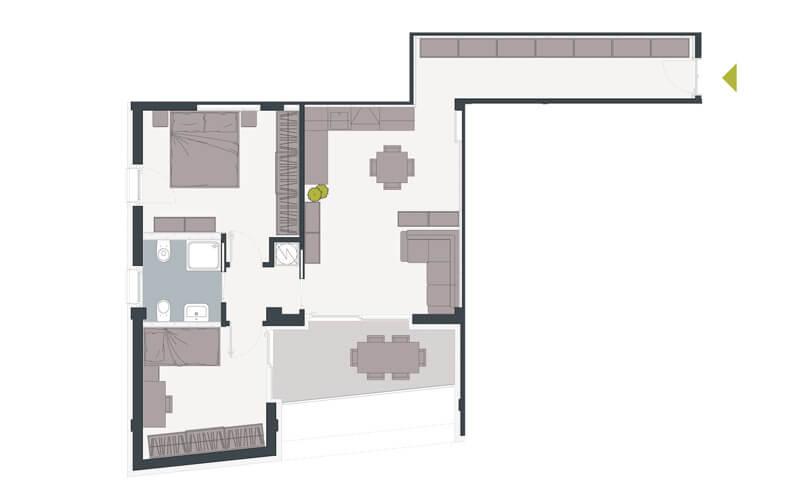Grundriss Wohnung mit Balkon Trient