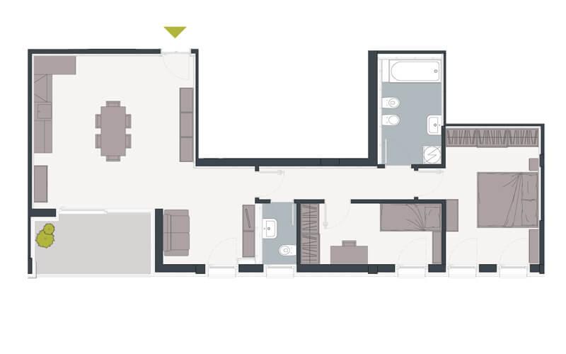 Grundriss 3-Zimmerwohnung mit Balkon im Zentrum von Trient