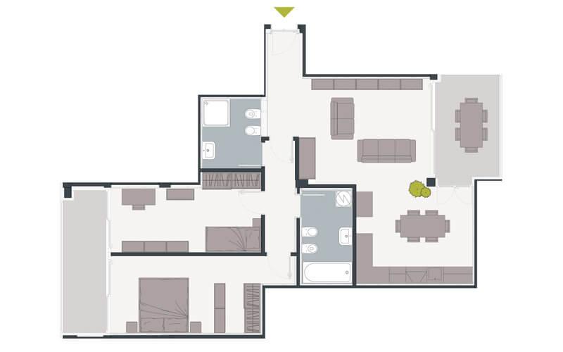 Grundriss 3-Zimmerwohnung mit Terrasse in Trient