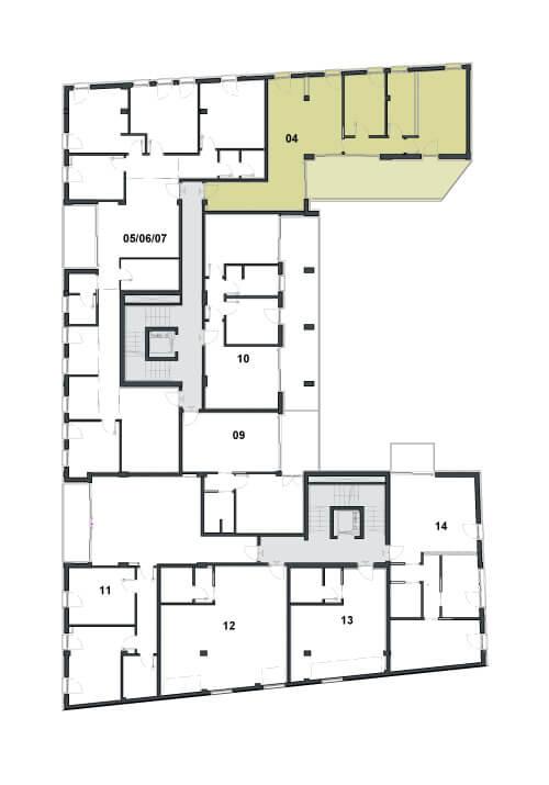 Grundriss Wohnung oder Büro im Zentrum von Trient Via Travai