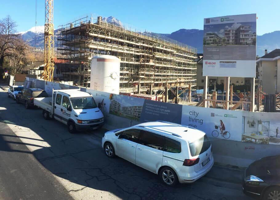 Baustelle Neubau Stadtwohnungen Meran