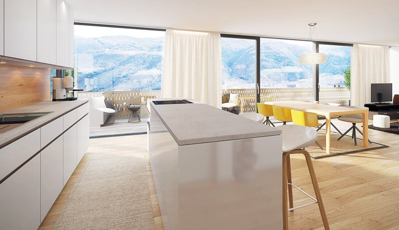 Visualisierung Wohnküche mit Balkon Naturns