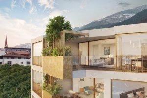 Visualisierung begrünte Loggia Apfelanger Schlanders Neubau Vinschgau
