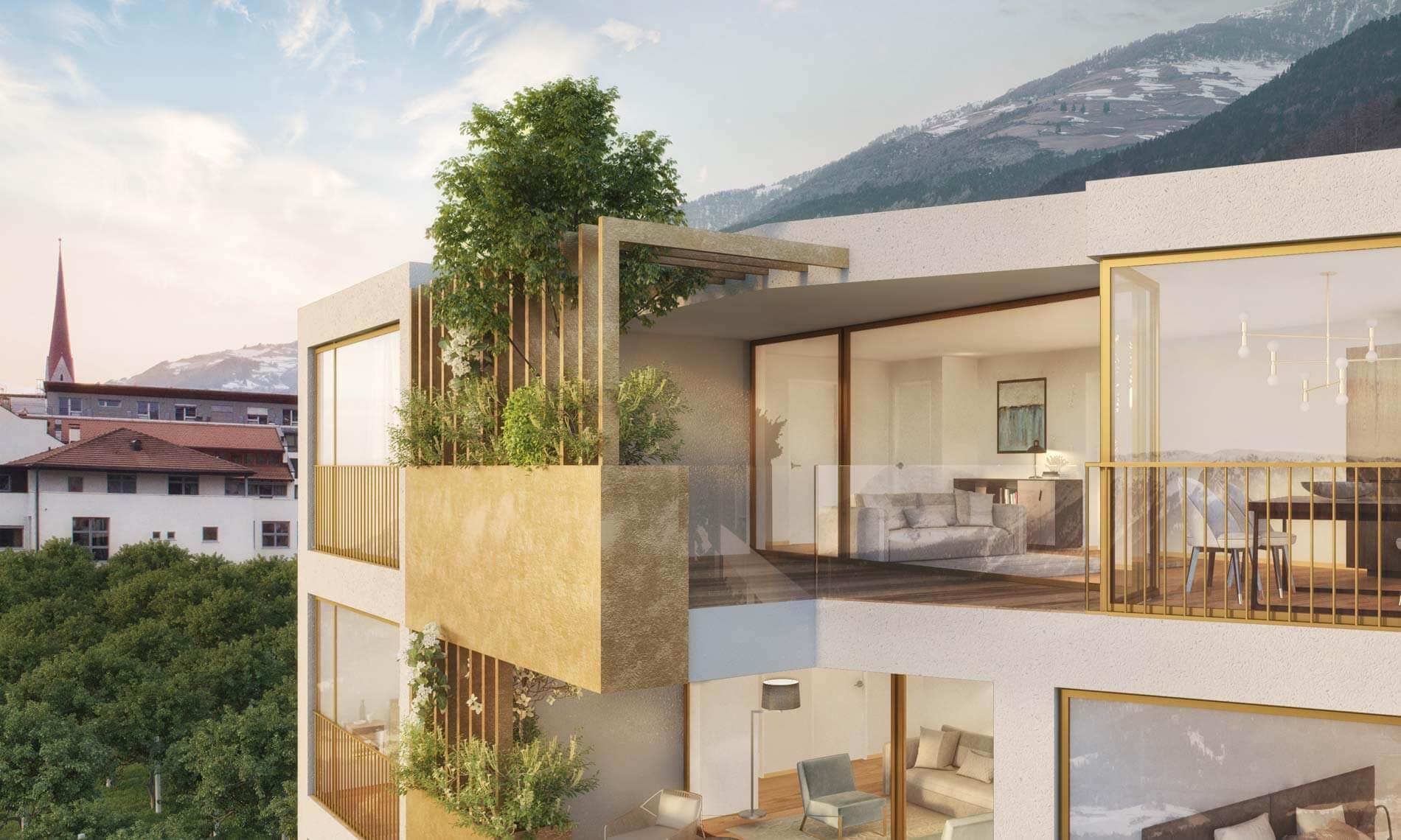 Visualisierung Detailansicht Penthouse-Wohnung mit begrünter Loggia Apfelanger Schlanders