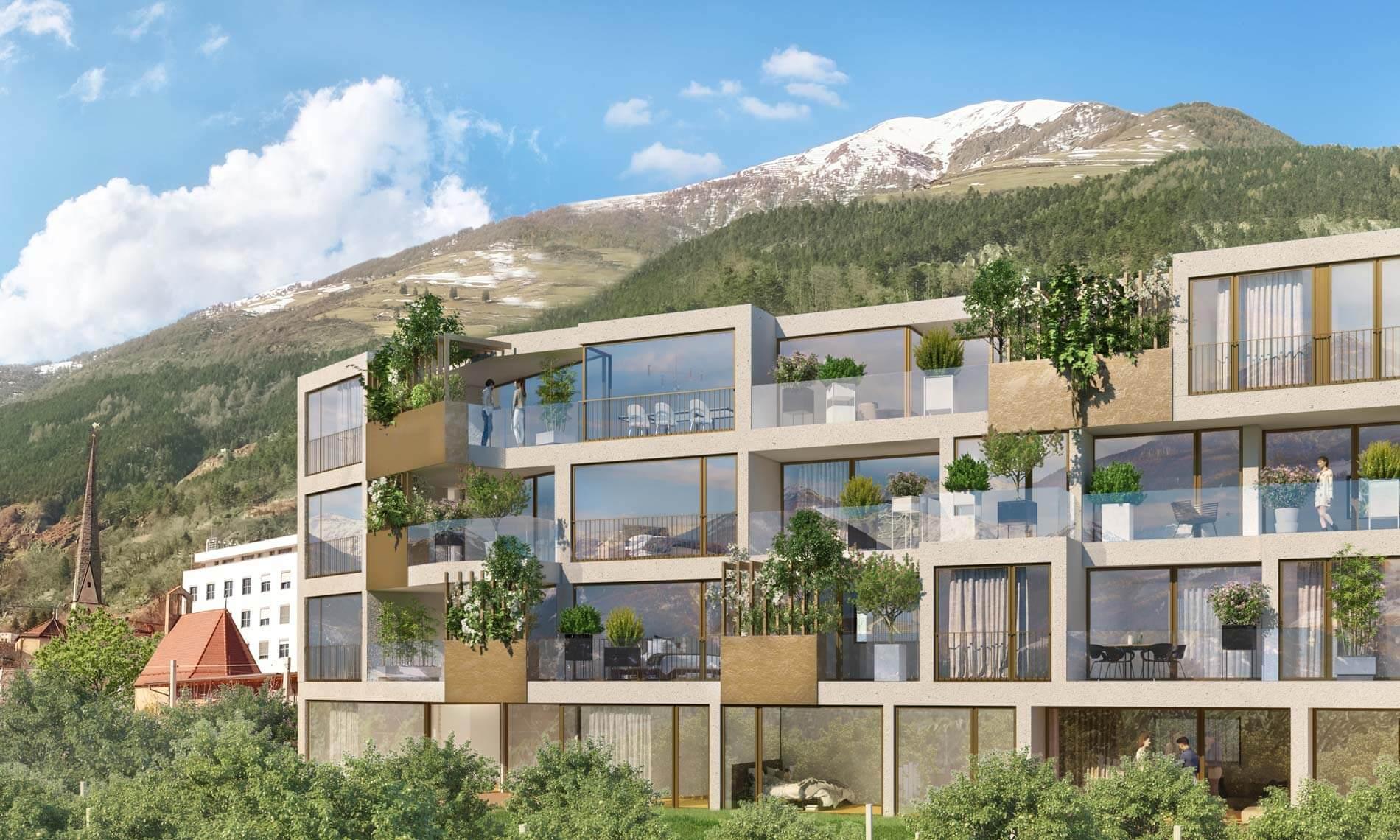 Visualisierung Fassade Wohnanlage Apfelanger Schlanders Neubau Vinschgau