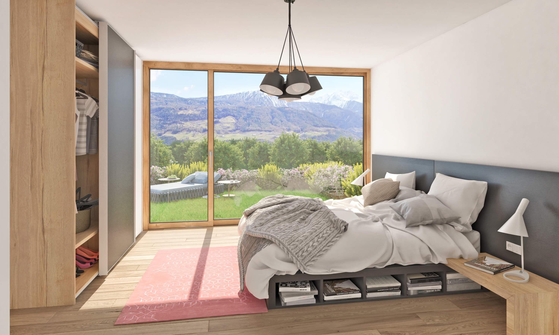 Visualisierung Schlafzimmer mit hochwertigem Parkett und Fußbodenheizung sowie bodentiefen Fenstern Apfelanger Schlanders Immobilien Vinschgau