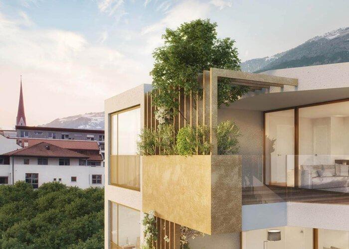 Visualisierung begrünte Terrassen, Balkonen und Loggien Apfelanger Schlanders Neubau Vinschgau