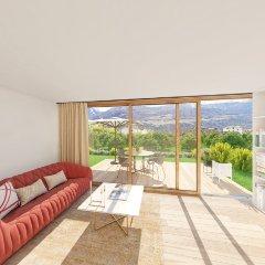 Visualisierung Wohnzimmer mit bodentiefen Fensterfronten Apfelanger Schlanders Neubau Vinschgau